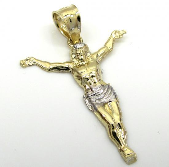 10k Two Tone Gold Small Jesus Pendant