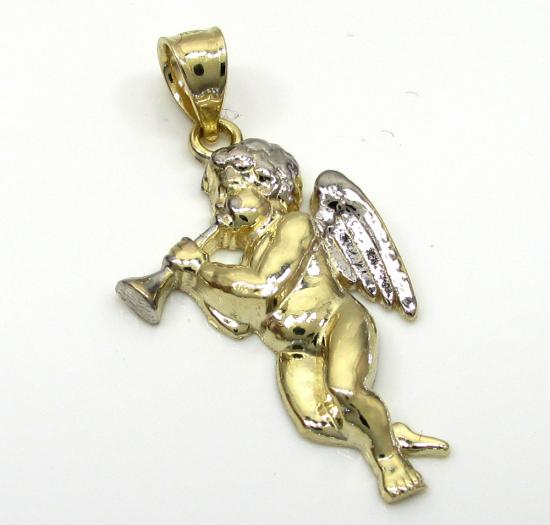 10k Yellow Gold Trumpet Angel Wing Pendant