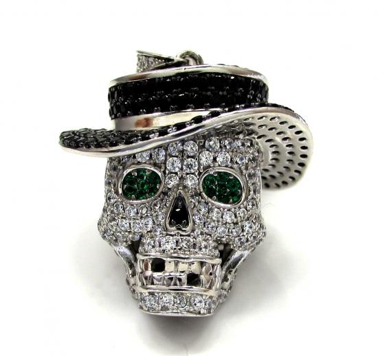 Sterling Silver Crown Skull Head Cz Pendant With Chain