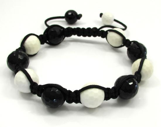 Macramé Black & White Onyx Faceted Bead Black Rope Bracelet