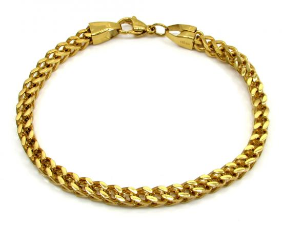 Yellow Stainless Steel Franco Bracelet 9.25 Inch 5mm