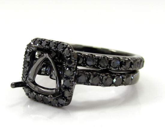 Ladies 10k Black Gold Black Diamond Semi Mount Ring 1.35ct