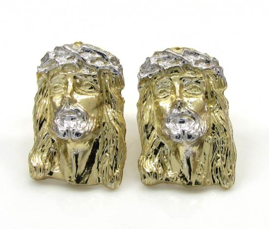 10k Yellow Gold Mini Jesus Face Earrings