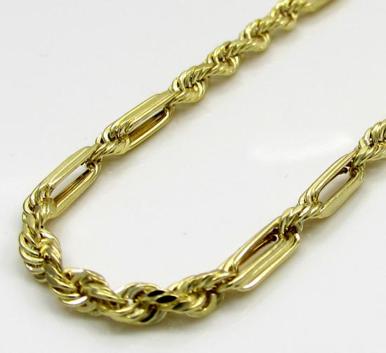 10k Yellow Gold Hollow Skinny Figaro Rope Chain 2.7mm 18-24 Inch