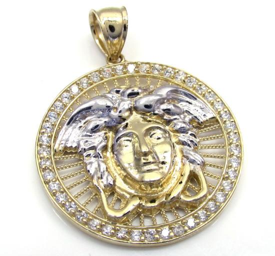 10k Yellow Gold Small Halo Medusa Head Cz Pendant