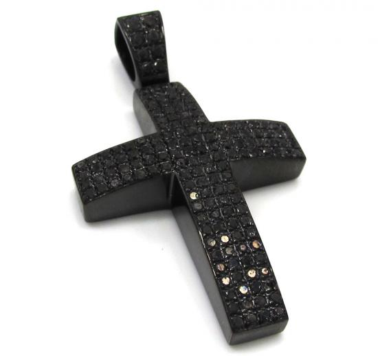 Black Sterling Silver Black Diamond Cross 3.73ct