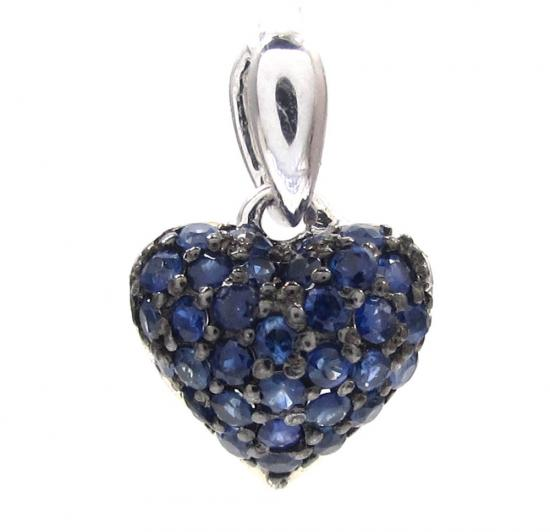 14k White Gold Blue Sapphire Mini Heart Pendant 0.40ct