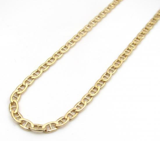 10k Yellow Gold Skinny Puffed Mariner Chain 18-24 Inch 2.40mm