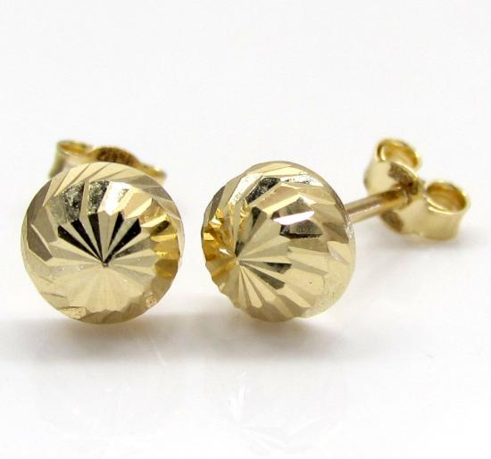 14k Yellow Gold Diamond Cut Sphere Earrings