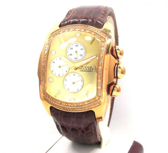 0.20ct Mens Aqua Master Genuine Diamond Watch 'yellow Bubble W/ Brown Band