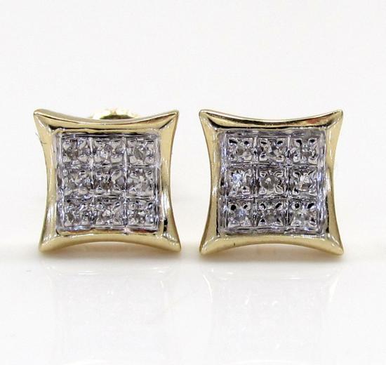 10k Gold 3 Row Diamond Kite Earrings  0.07ct