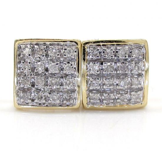 10k Gold 4 Row Diamond Earrings 0.10ct