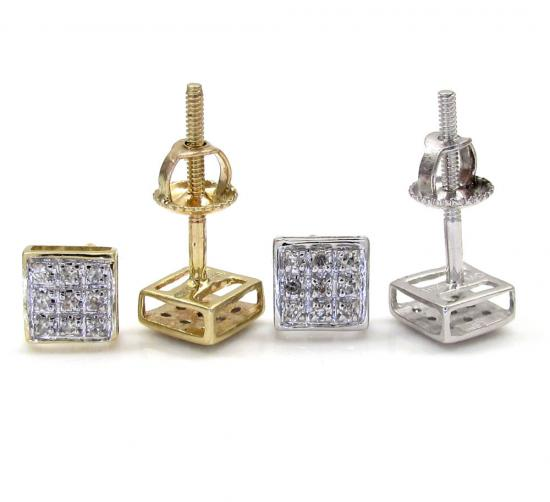 10k Gold 3 Row Diamond Earrings  0.07ct