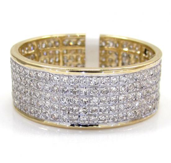 14k Yellow Gold Diamond Fashion Unisex Ring 1.20 Ct