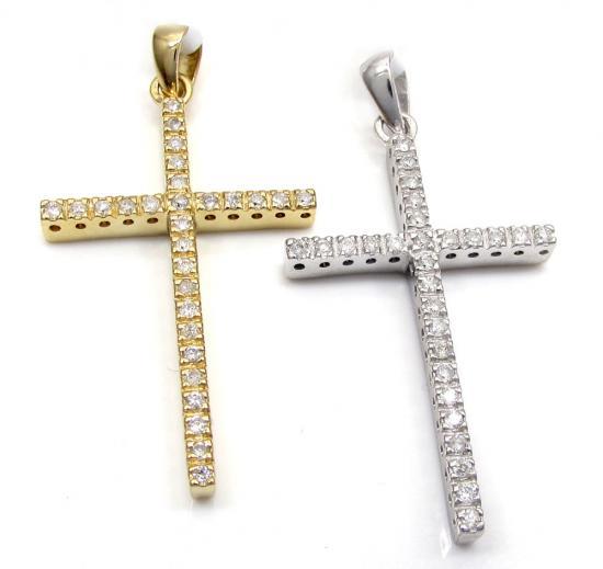 14k Gold 28 Diamond Prong Cross 0.25ct