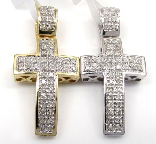 Mens diamond cross white yellow gold crosses 10k 14k 18k round 10k gold diamond mini cross 016ct mozeypictures Image collections
