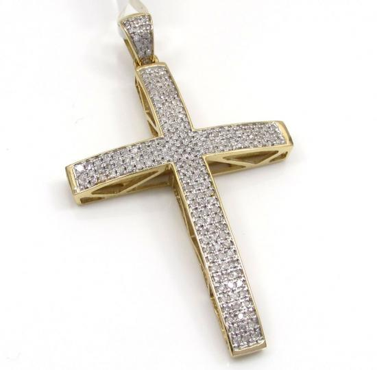 10k Yellow Gold Curved Diamond Pave Cross 0.56 Ct