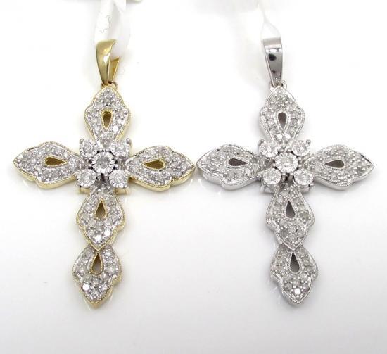 10k Solid Gold Ribbon Diamond Cross 0.45ct