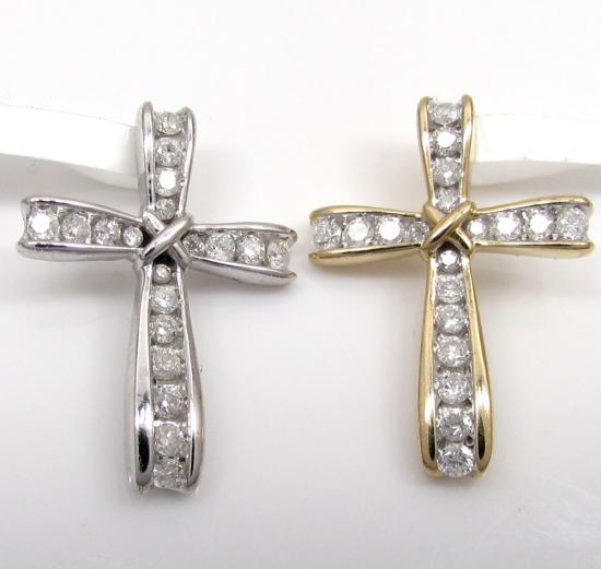 10k Gold Bow Tie Diamond Cross 0.25ct