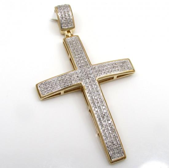 10k Yellow Gold 3 Row Diamond Cross Pendant 0.75ct
