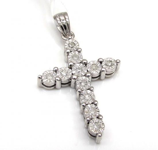 10k White Gold 11 Diamond Cross Pendant 0.15ct