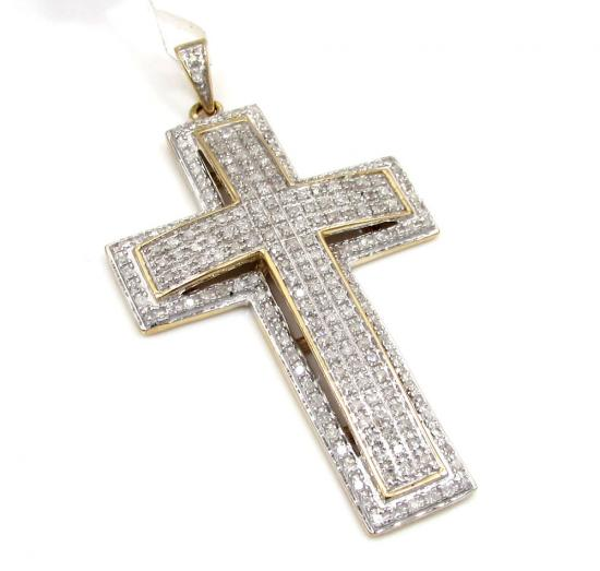 10k Yellow Gold 3d Diamond Border Cross Pendant 0.75ct