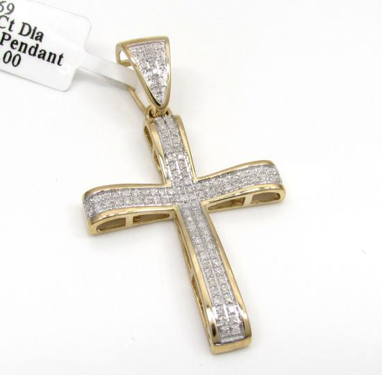 10k Yellow Gold Arch Diamond Cross Pendant 0.40ct