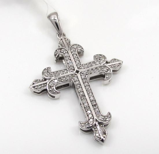 10k White Gold Saint Diamond Cross 0.25ct