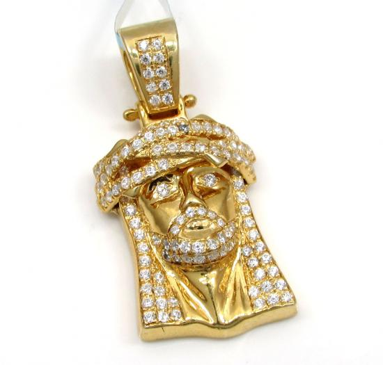 925 Sterling Silver Small Jesus Piece Cz Pendant 2.00ct