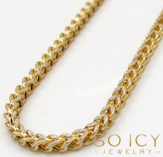 10k Yellow Gold Skinny Hollow Diamond Cut Franco Chain 20-34 Inch 2mm