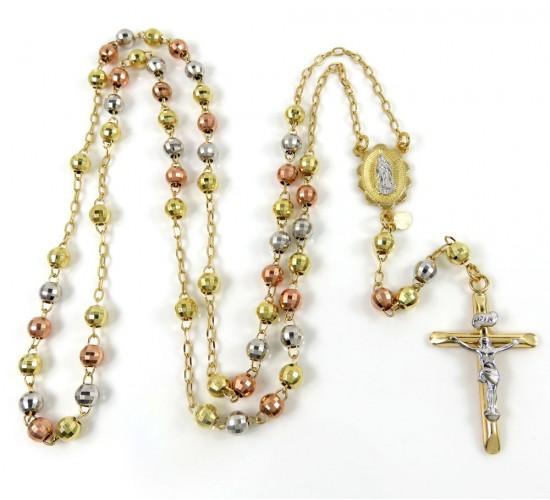 10k Yellow Gold Tri Tone Disco Ball Bead Rosary Chain 26 Inch 4.6mm