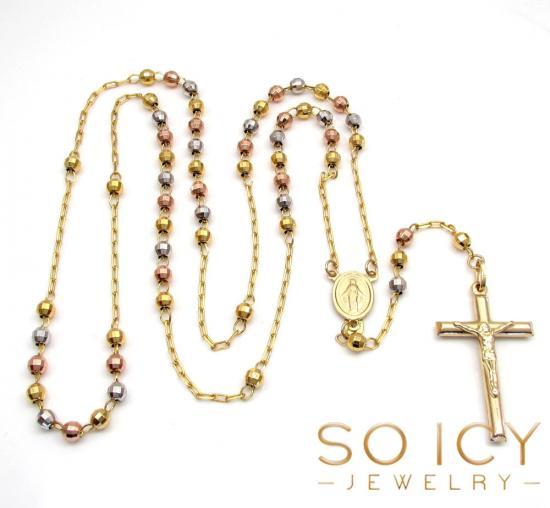 10k Yellow Gold Tri Tone Disco Ball Skinny Bead Rosary Chain 26 Inch 3.8mm