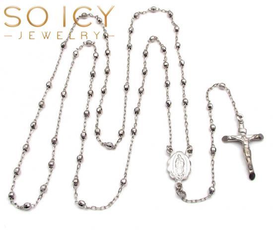 10k White Gold Diamond Cut Disco Bead Super Skinny Rosary Chain 28 Inch 2.6mm