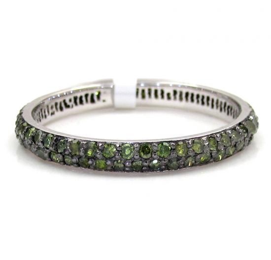 14k White Gold Green Diamond Wedding Band 0.72ct