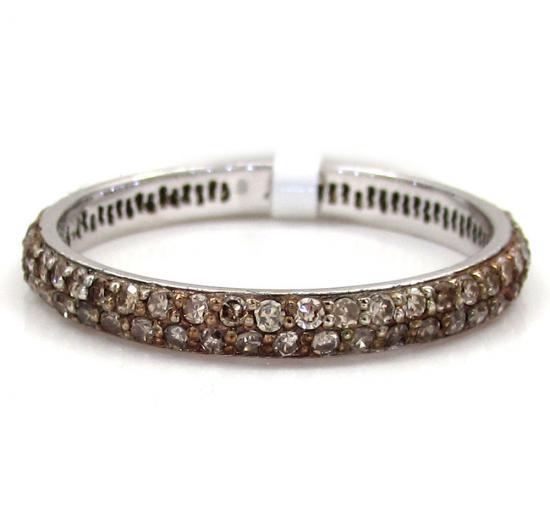14k White Gold Fancy Champagne Diamond Wedding Band 0.72ct