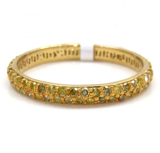 14k Yellow Gold Fancy Yellow Diamond Pave Wedding Band 0.72ct