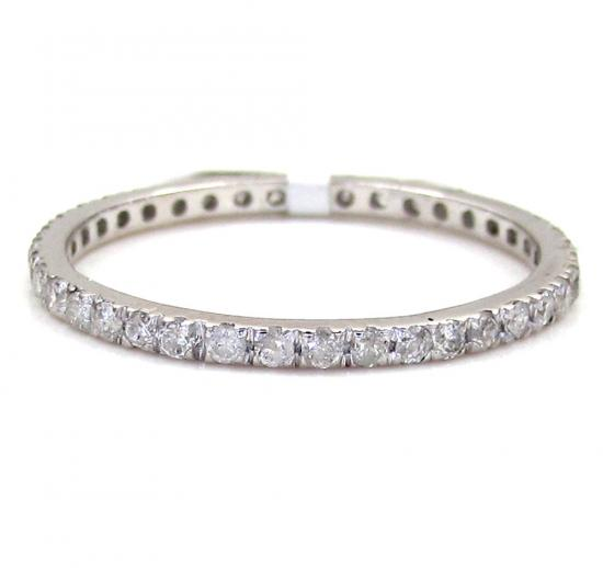 10k White Gold Single Row White Diamond Band 0.38ct