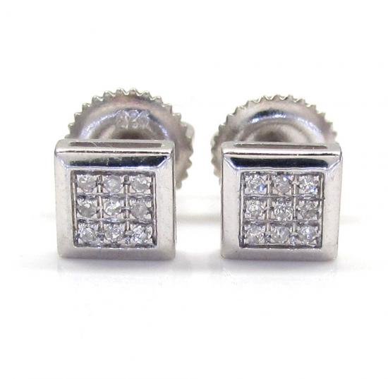 925 White Sterling Silver Diamond Earrings 0.10ct