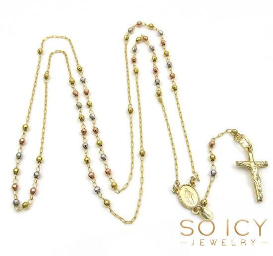 10k Gold Rosary Beads Chains Necklaces for Men So Icy Jewelry