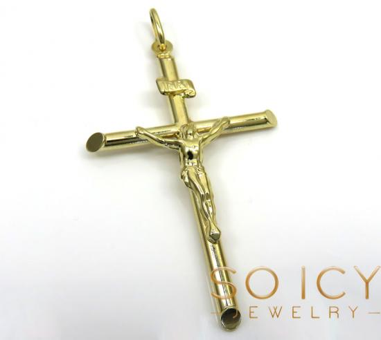 14k Yellow Gold Large Jesus Tube Cross Pendant