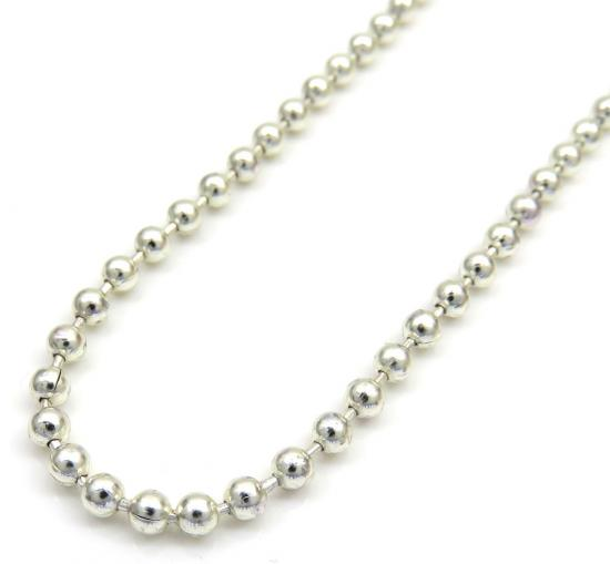 925 White Sterling Silver Ball Link Chain 32 Inch 2.50mm