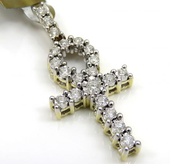10k Yellow Gold Diamond Ankh Cross 0.37ct