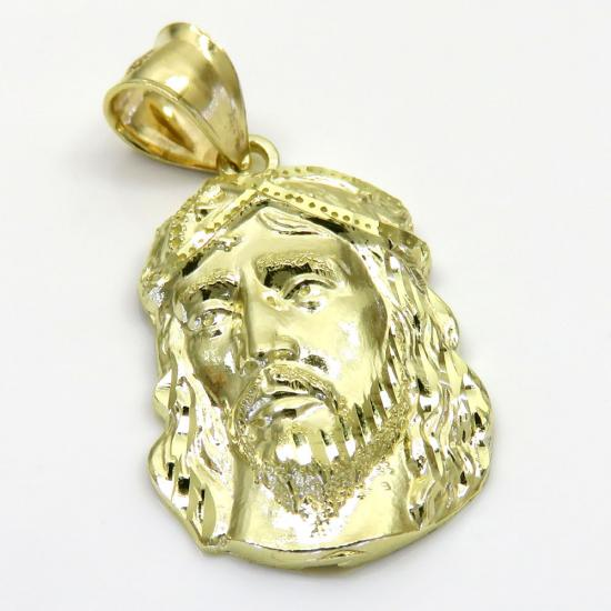 10k Yellow Gold Side Face Xs Jesus Pendant