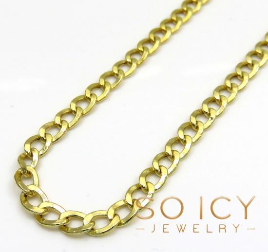 10k Yellow Gold Hollow Cuban Chain 24 Inch 3.50mm