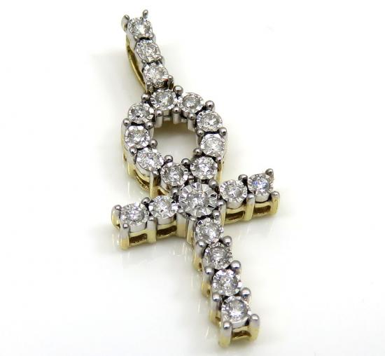 10k Yellow Gold Diamond Mini Ankh Cross 0.26ct