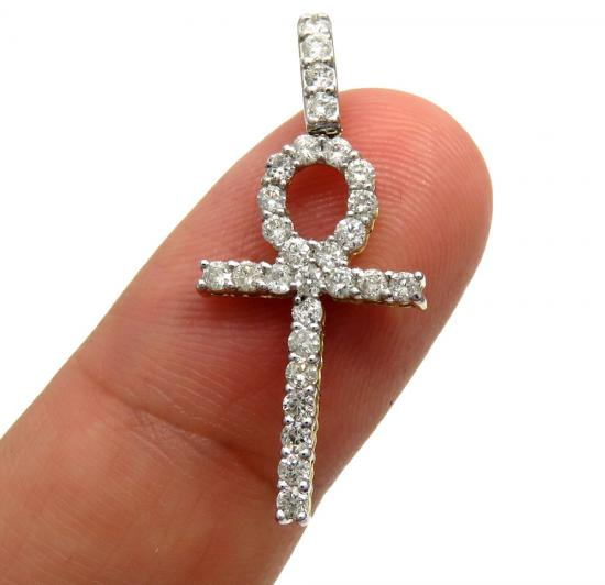 10k Yellow Gold Twenty Eight Diamond Small Fancy Ankh Cross 0.80ct