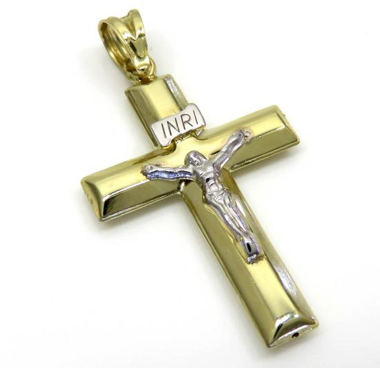 14k Yellow Gold Short Jesus Tube Cross Pendant