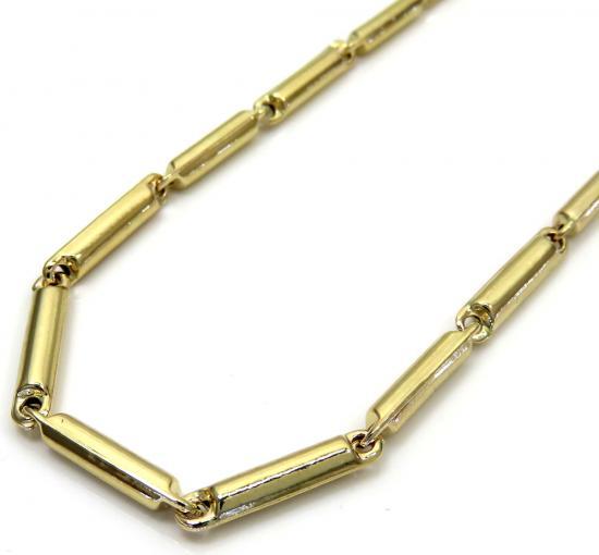 10k Yellow Gold Fancy Bullet Tube Chain 26-30 Inch 2.6mm
