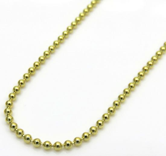10k Yellow Gold Super Skinny Combat Ball Link Chain 18-24 Inch 1.2mm