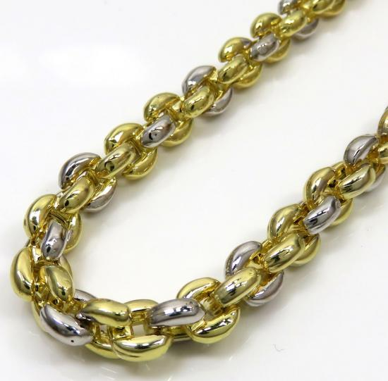 10k Two Tone Gold Puff Interlocking Cable Chain 30 Inch